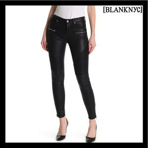 NEW BLANK NYC BLACK FAUX LEATHER MOTO SKINNY JEANS